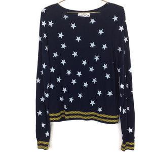 Wildfox Nautical Stars Navy Blue Thin Sweatshirt M
